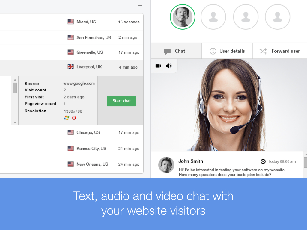 Text, audio, video chat