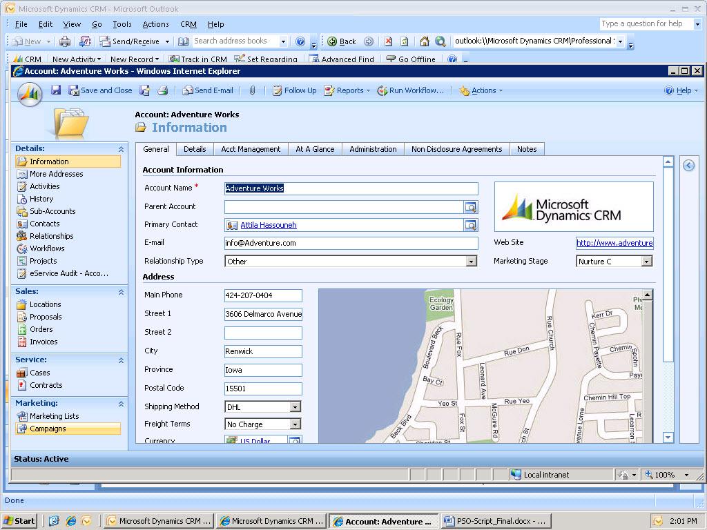 Microsoft Dynamics CRM - Account entry screen