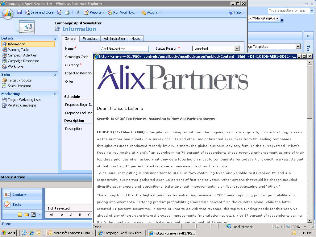 Microsoft Dynamics CRM - Campaigns and newsletters