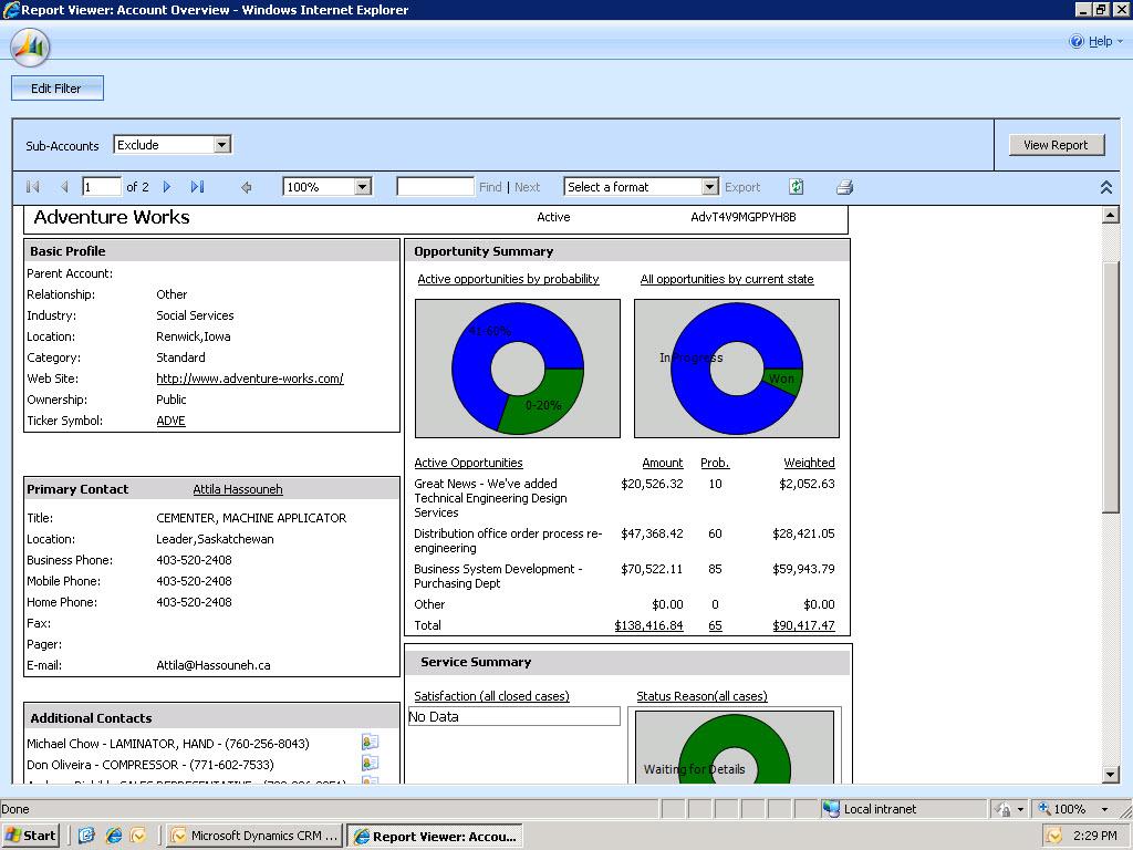 Microsoft Dynamics CRM - Account report