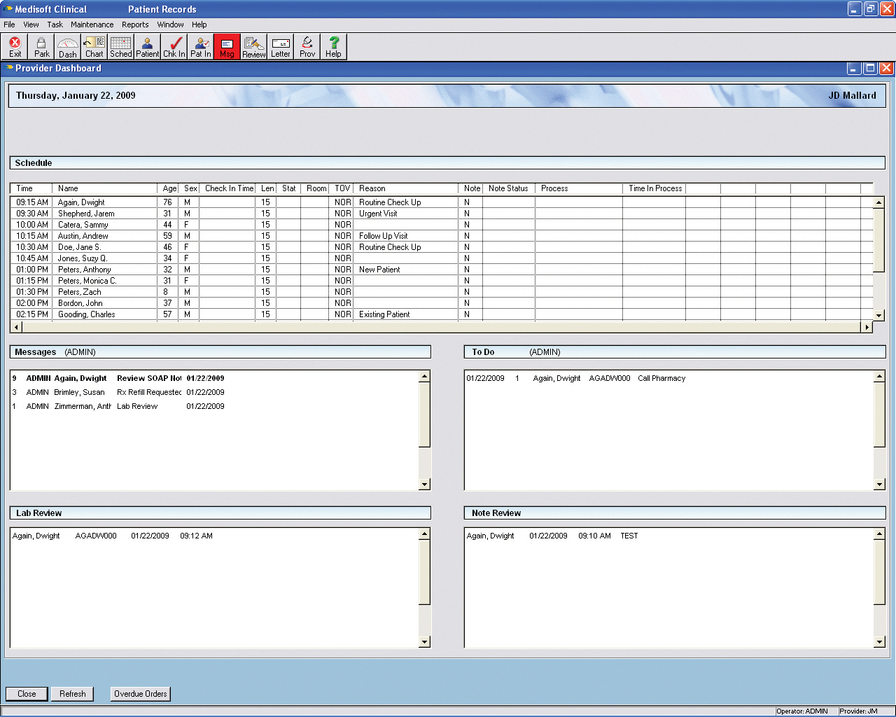Medisoft Clinical - Provider dashboard