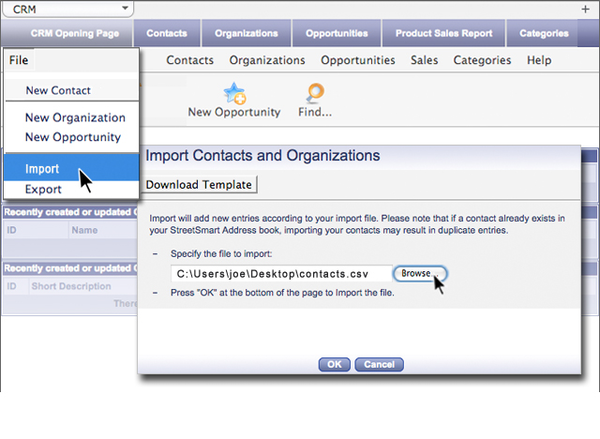 Importing information