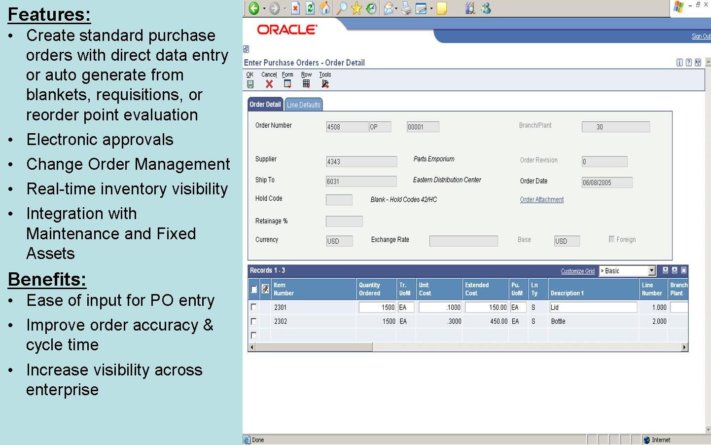 Oracle JD Edwards Distribution - Enter Purchase Order screen