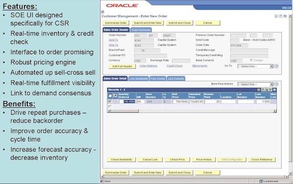 Enter a Sales Order screen