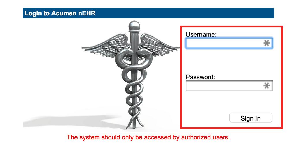 Acumen nEHR - Portal login