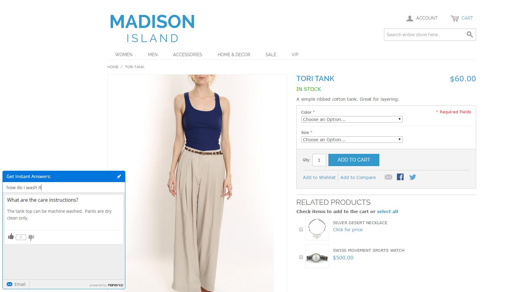 Customer facing Self-service widgets