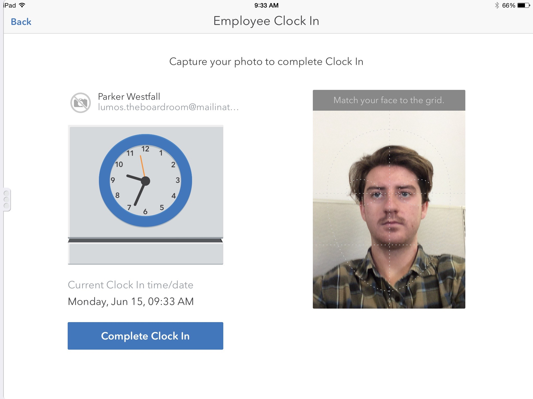 Employee clock-in facility