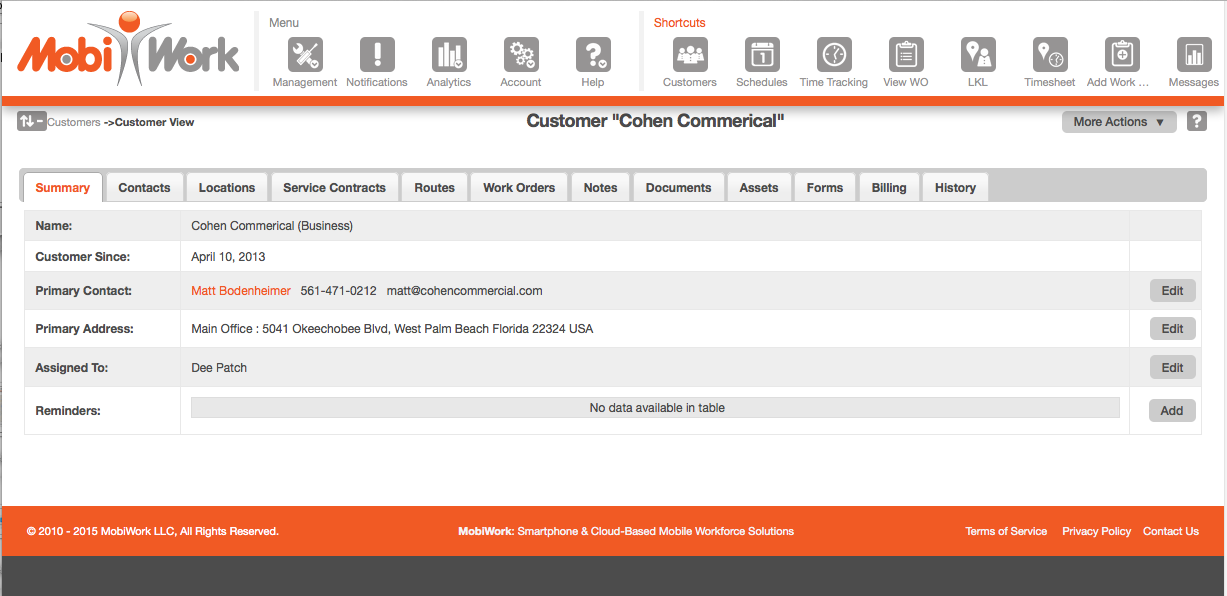Customer Web View