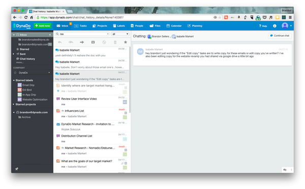 Stream of tasks, discussions, chats, and emails