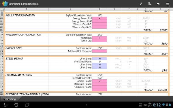 Excel Estimating Spreadsheets w/ Built-In Formulas