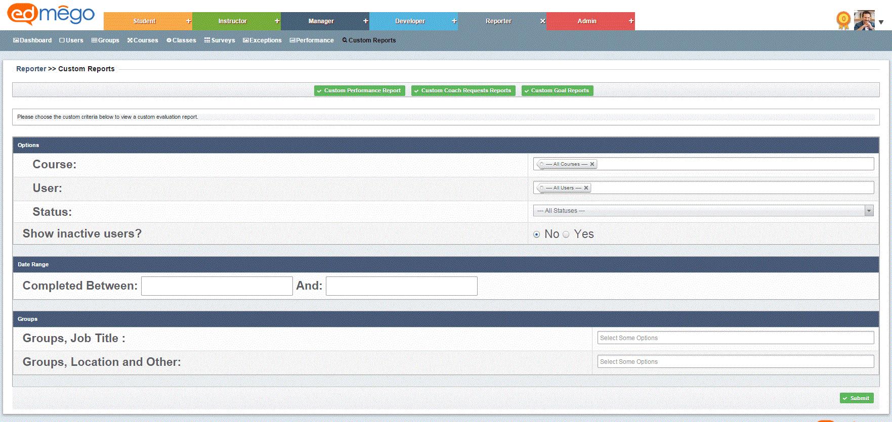 Customizable Reporting Engine