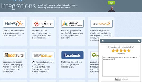 SnapEngage integrations screenshot