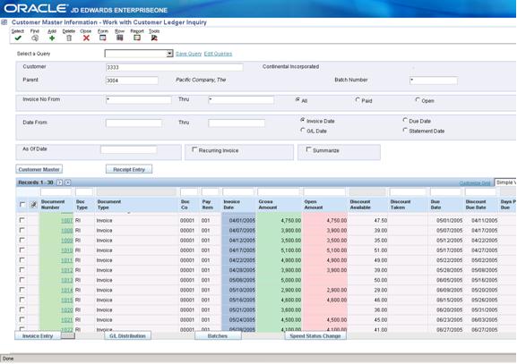 Customer Ledger Inquiry Screen
