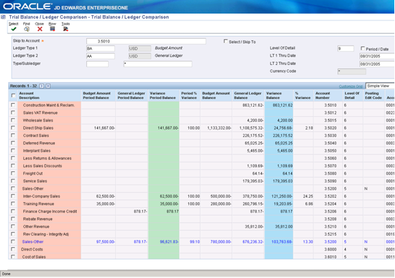 Trial Balance Inquiry Screen