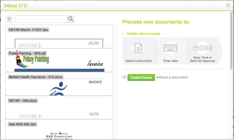 Inbox with Captured Invoices