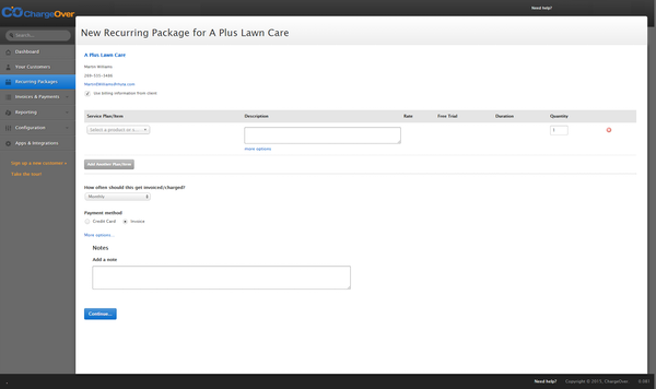 Add new recurring package