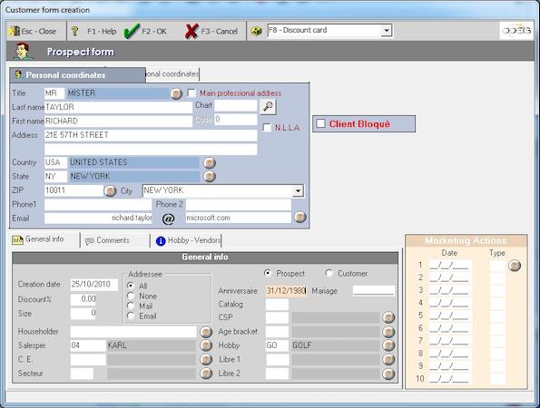 Customer Details Screen