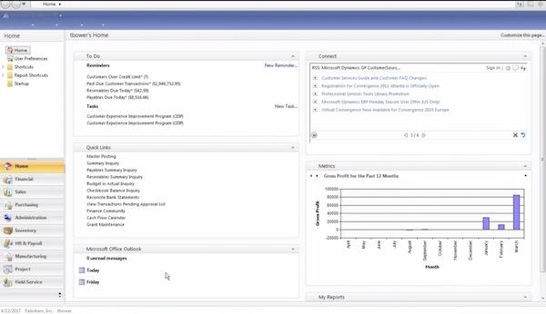 Microsoft Dynamics homepage