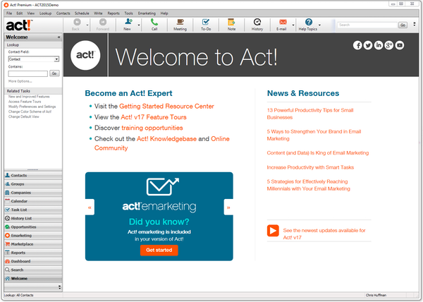Act! - Welcome page