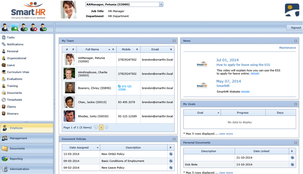Employee and Manager Self-Service Dashboard