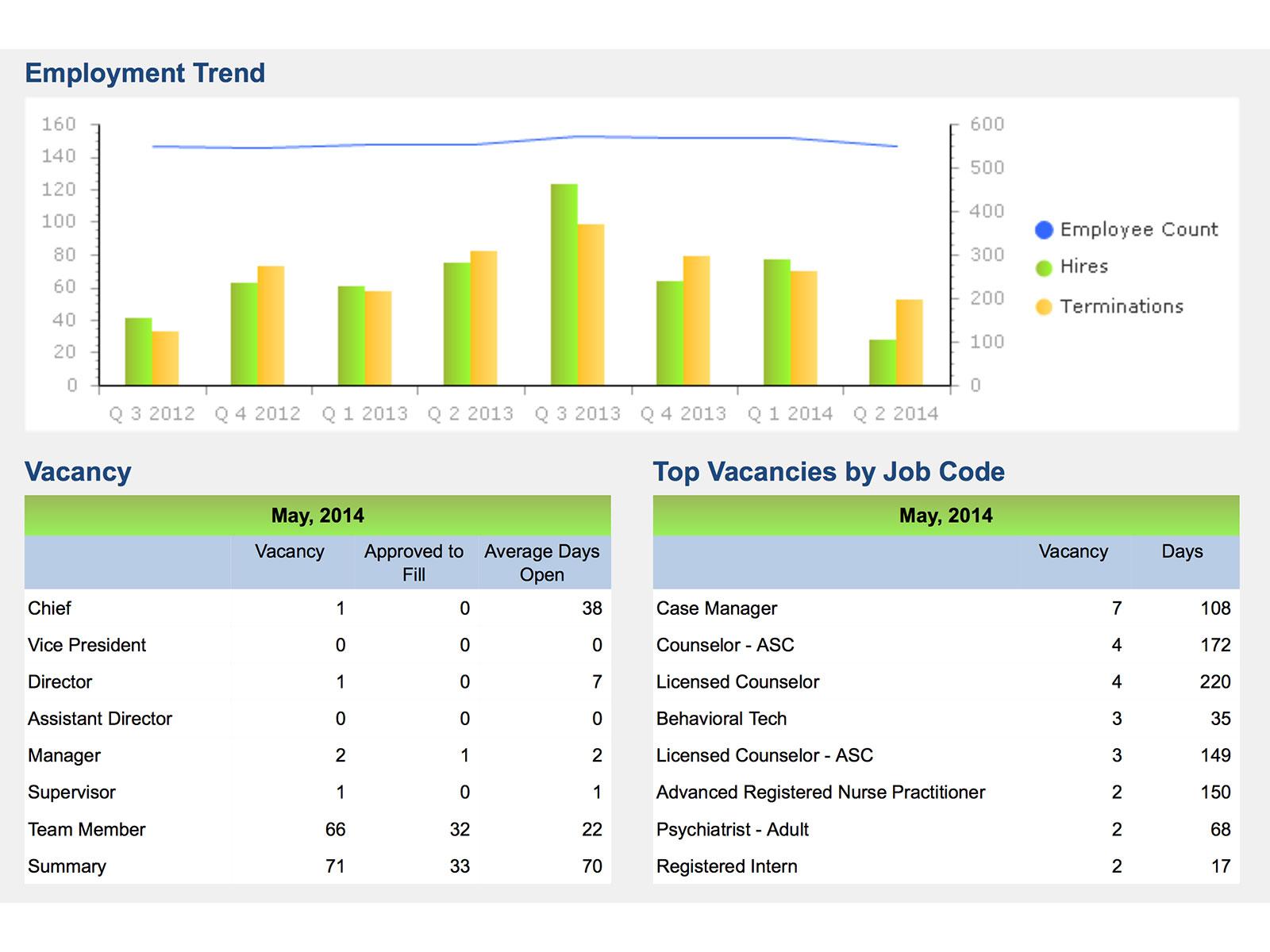 Portion of the Executive Metrics Dashboard
