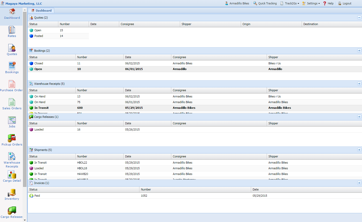 LiveTrack - Provides online customer inventory status