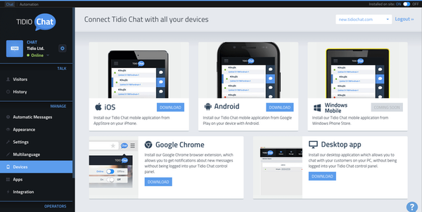 Tidio Chat connect with devices screenshot