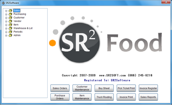 Main SR2Food Screen