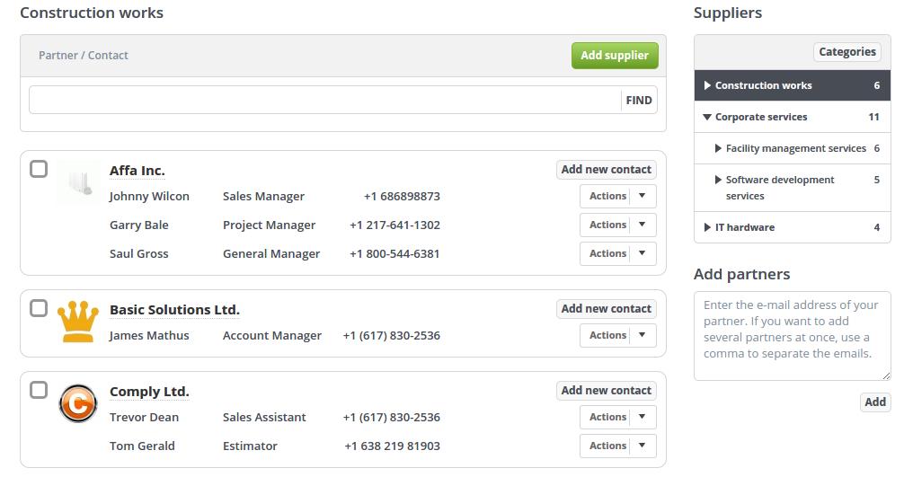 Supplier relationship management feature