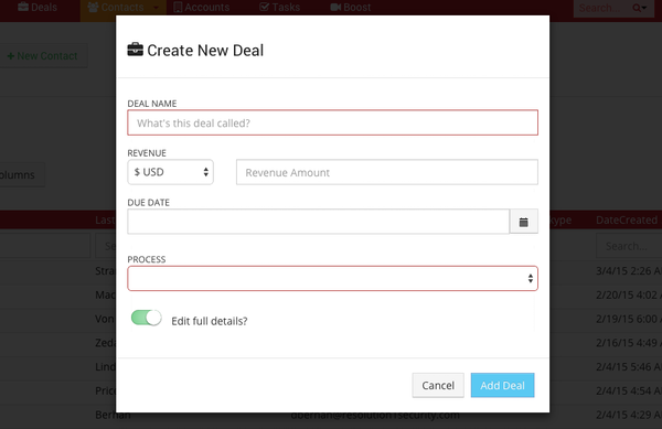 Create new deal