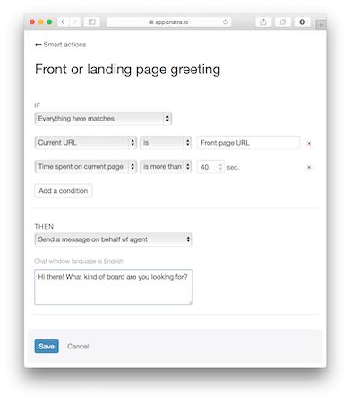 Landing page greeting