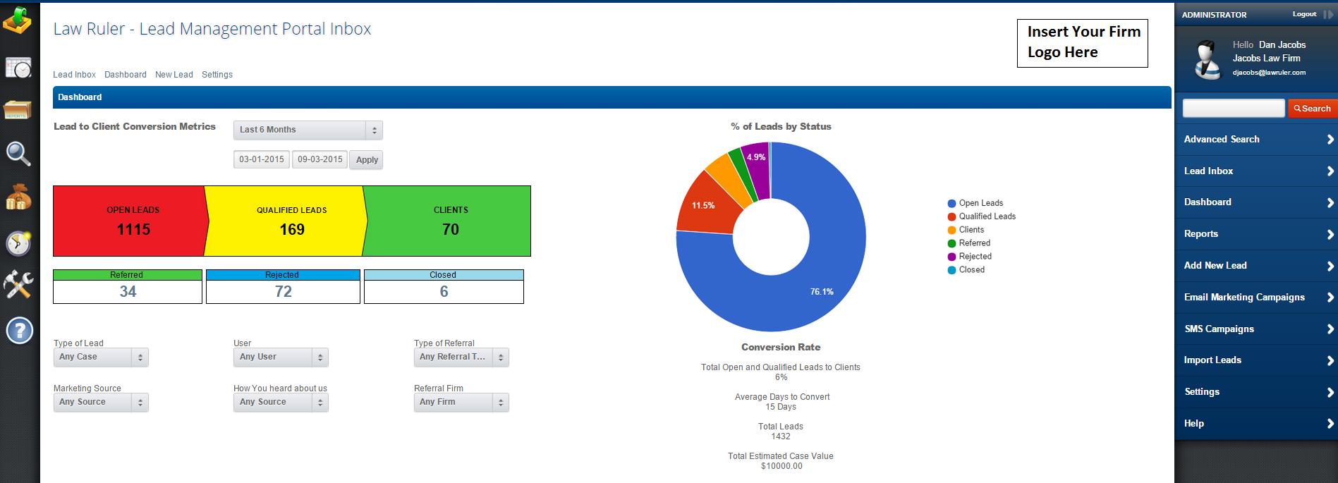 Lead management portal inbox