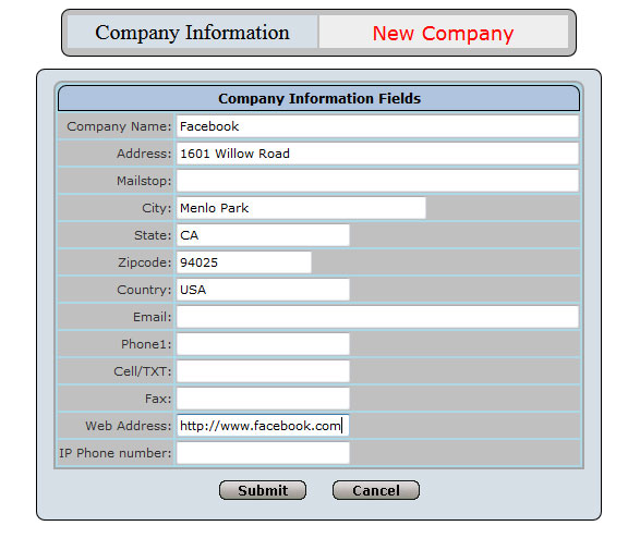Company Information Form