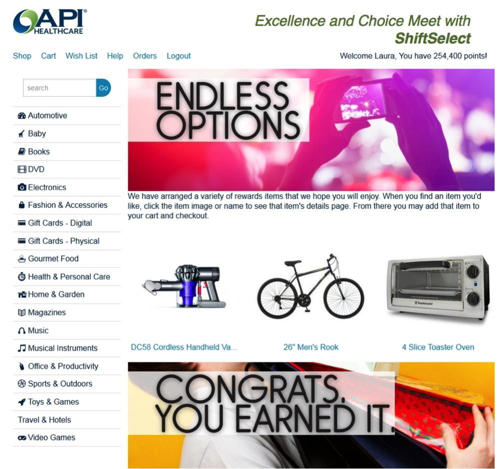 Online rewards catalog