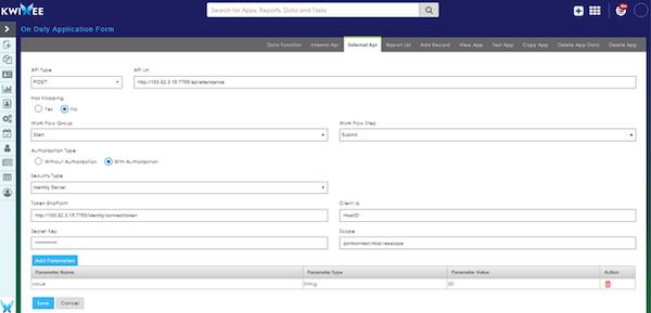 Quixy external API screenshot