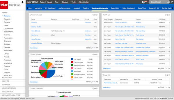 Infor CRM  - Homepage