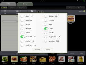 Create menu modifiers with customized pricing.