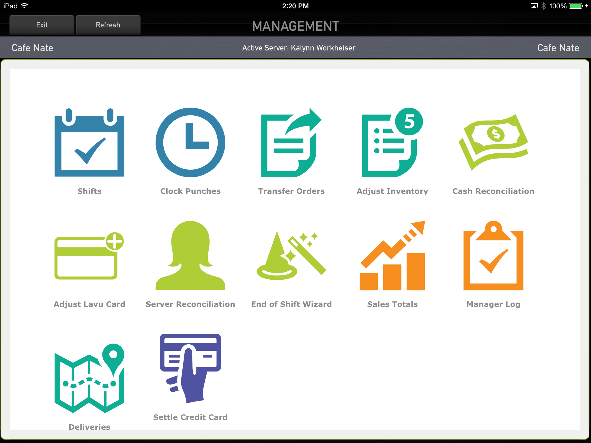 Management controls employee access to functions.