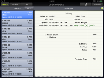 Scroll through open orders.