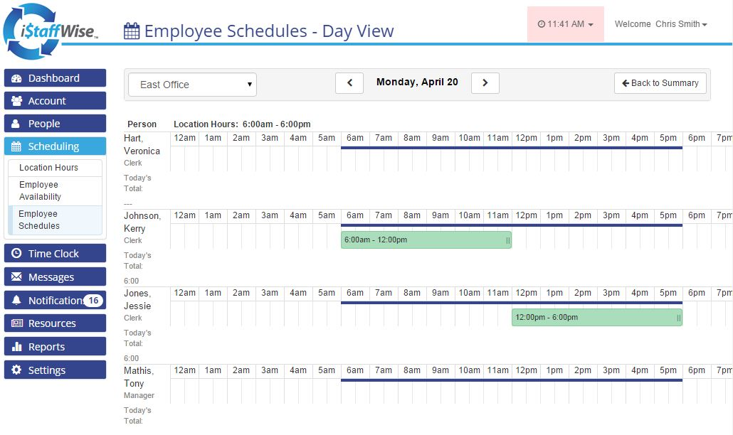 Employee schedules