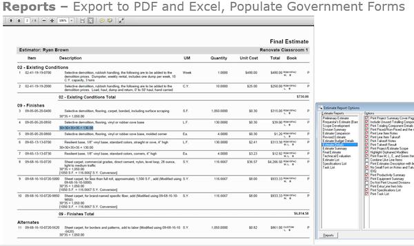 Estimating report options