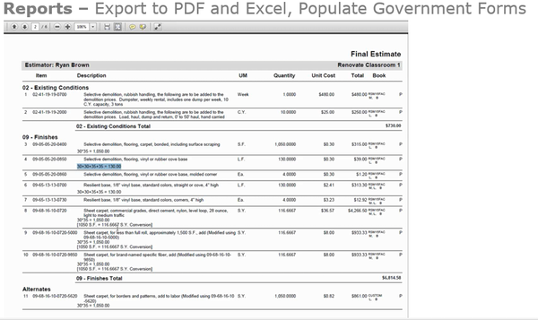 Estimating report