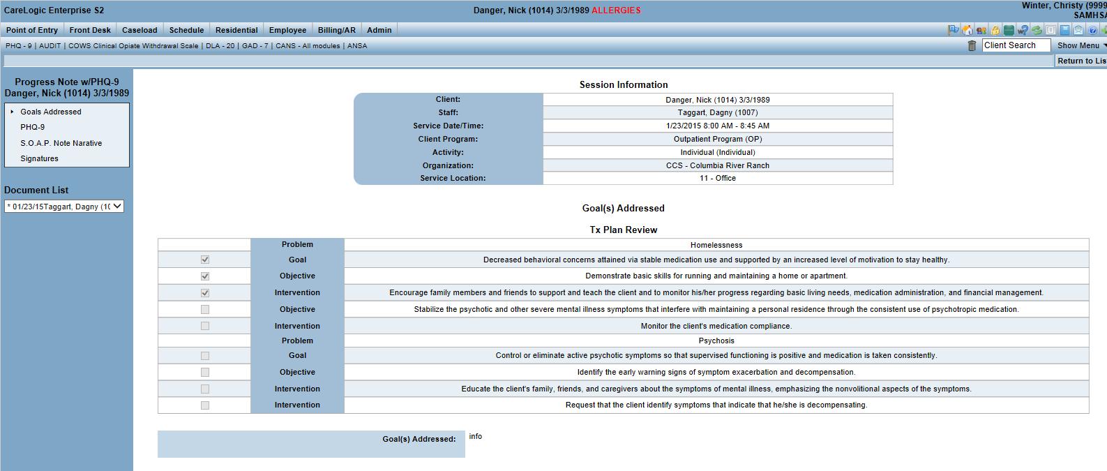 Qualifacts CareLogic Enterprise - CareLogic Enterprise - Qualifacts progress notes
