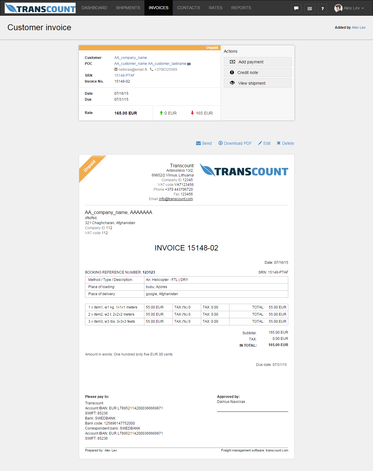 Customer invoice