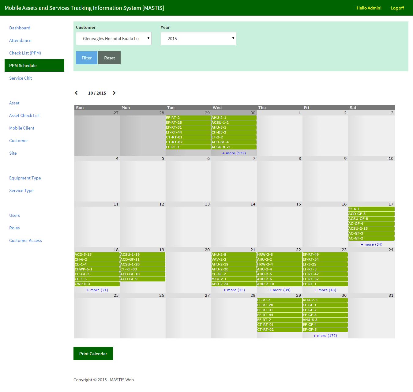 Preventive maintenance calendar