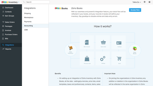 Zoho Inventory books integration screenshot