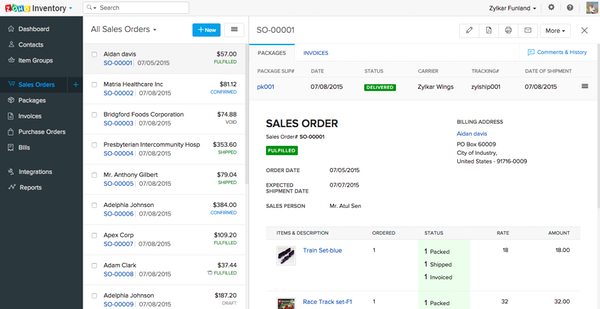 Zoho Inventory sales order screenshot