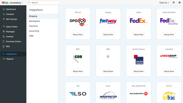 Zoho Inventory shipping integrations screenshot