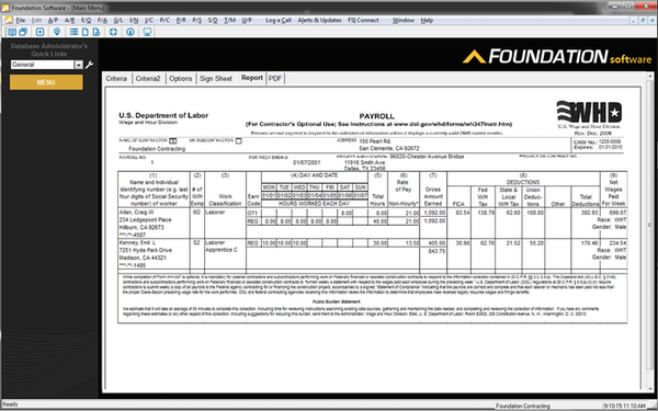 FOUNDATION Construction Accounting - FOUNDATION Construction Accounting payroll report sample