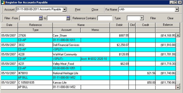 Accounts payable account